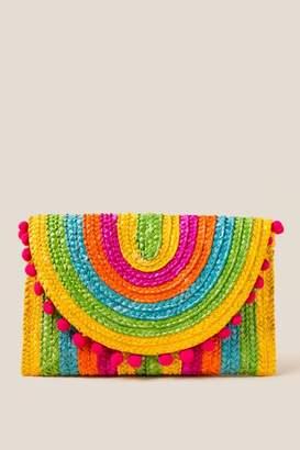 francesca's Carley Multi-Color Straw Pom Clutch - Multi