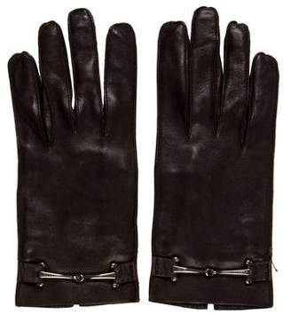 Gucci Silk-Lined Leather Gloves