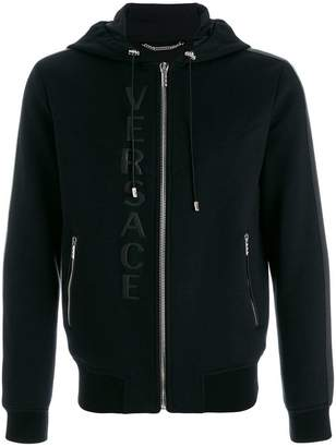 Versace leather logo hooded sweatshirt
