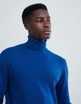Esprit cashmere blend roll neck sweater in blue
