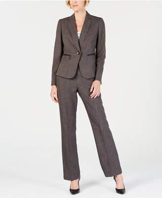 Le Suit Zippered-Pocket Shoulder-Pad Pantsuit