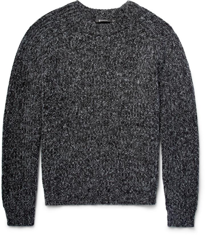 Ribbed Mélange Cotton-Blend Sweater