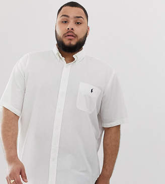 Polo Ralph Lauren Big & Tall player logo pocket short sleeve seersucker shirt in white