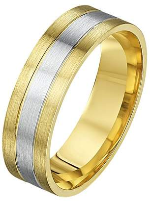 Theia His & Hers 14ct Yellow and White Gold Two-Tone 5mm Diamond Wedding Ring - Size N