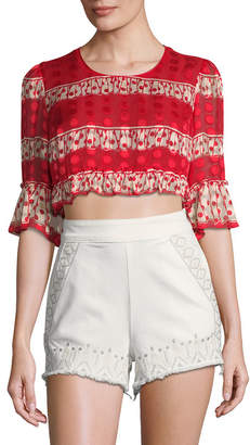 Anna Sui Spring Gathered Cropped Blouse