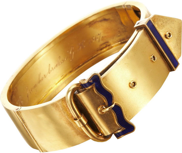 Olivia Collings Antique Jewelry Gold Buckle Bangle