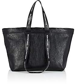 Balenciaga Men's Carry Shopper S Leather Tote Bag-Black