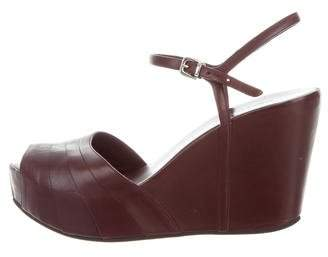 Roberto Del Carlo Leather Ankle Strap Wedges