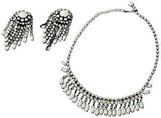 One Kings Lane Vintage Milk Glass Earrings & Necklace Set - Maeven