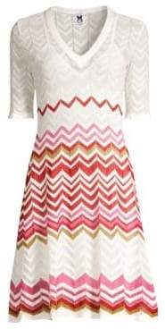 M Missoni Women's Ribbon Wave A-Line Dress - White Red - Size 40 (4)