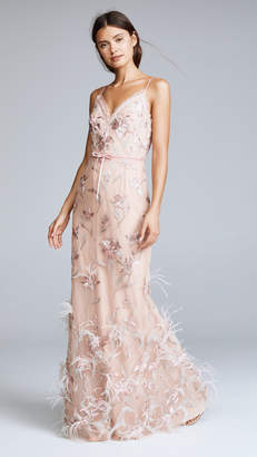 Marchesa Sleeveless V Neck Feather Embroidered Gown
