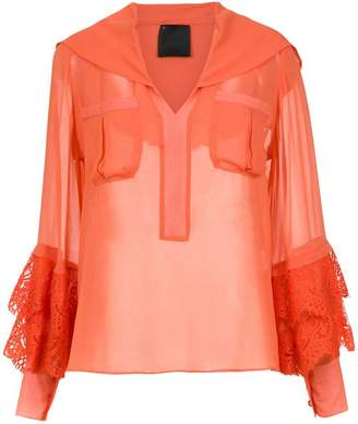 Andrea Bogosian sheer satin blouse