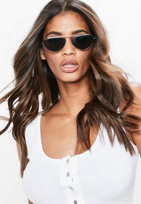 Missguided Black Double Bar Small Sunglasses