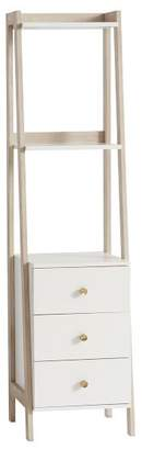 Pottery Barn Teen Highland Narrow Bookcase with Drawers, Water-Based Simply White/ Weathered White