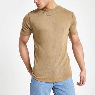 River Island Light brown linen blend T-shirt