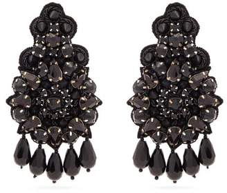 Etro - Floral Crystal And Bead Embellished Earrings - Womens - Black