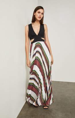 BCBGMAXAZRIA Maryna Deco Stripe Maxi Dress