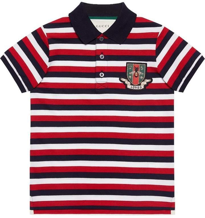 Gucci Kids Children's striped cotton polo with crest