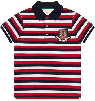 Gucci Kids Children's striped cotton polo with crest
