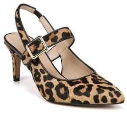 Franco Sarto Martina Leopard Print Calf Hair Slingback Pumps