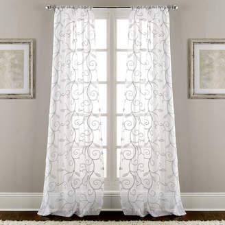 Fleur De Lis Living Lindsey Embroidered Nature/Floral Semi-Sheer Rod Pocket Curtain Panels