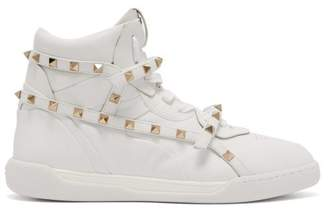 Valentino Rockstud Amor High Top Leather Trainers - Womens - White