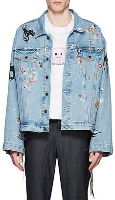 Vetements Men's Sticker-Print Denim Oversized Jacket - Blue