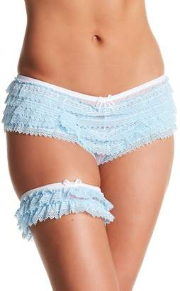 Honeydew Intimates Bridal Ruffle Lace Panty & Garter Set