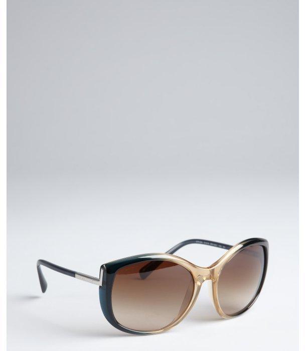 Prada blue and honey acrylic oversize round sunglasses