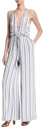 The Jetset Diaries Aries Striped Tie-Waist Jumpsuit