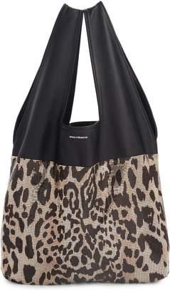 Paco Rabanne Leopard Print Mesh & Lambskin Leather Hobo