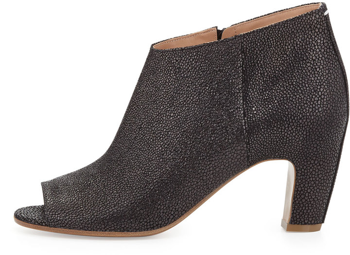 Maison Martin Margiela Lizard-Print Peep-Toe Ankle Boot