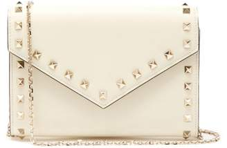 Valentino Rockstud Leather Envelope Clutch - Womens - Ivory
