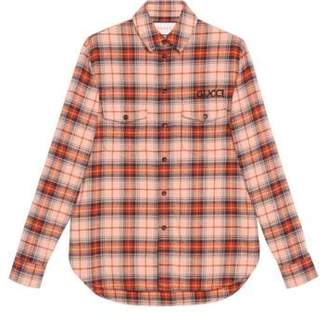 Gucci Check cotton shirt with Paramount logo