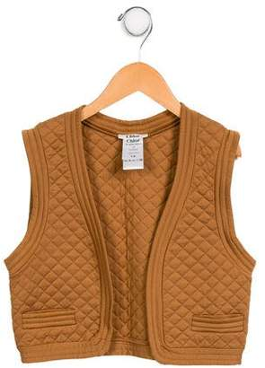 Chloé Girls' Quilted Open Front VEst