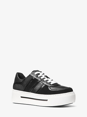 Michael Kors Camden Leather And Canvas Platform Sneaker