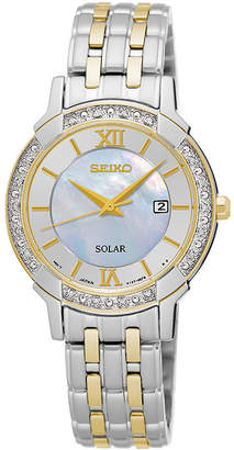 Seiko Womens Crystal-Accent Two-Tone Mother-of-Pearl Solar Bracelet Watch SUT278