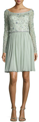Jenny Packham Beaded Long-Sleeve Boat-Neck Dress, Azure $4,715 thestylecure.com
