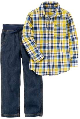 Carter's Boys 4-8 Plaid Shirt & Pull On Jeans Set