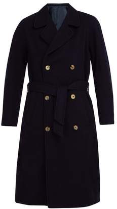 De Bonne Facture - Double Breasted Wool Overcoat - Mens - Navy