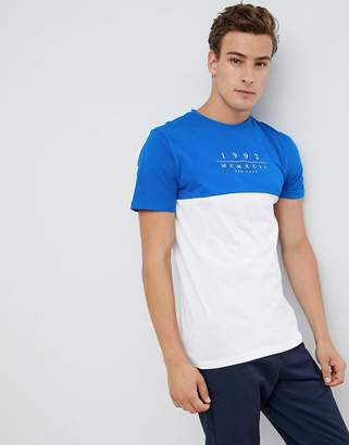 New Look color block t-shirt with 1992 print in blue