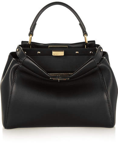Fendi - Peekaboo Mini Leather Tote - Black