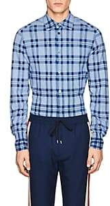 TOMORROWLAND MEN'S PLAID COTTON KNIT SHIRT-LT. BLUE SIZE S