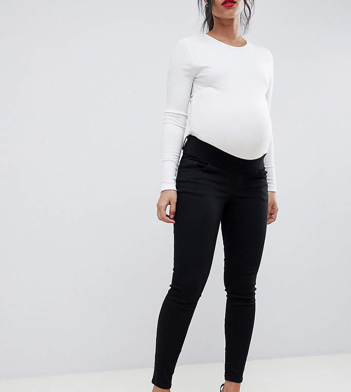 5868f309287 Asos Maternity Asos Design Maternity Ridley Skinny Jeans In Clean Black  With Under The Bump Waistband