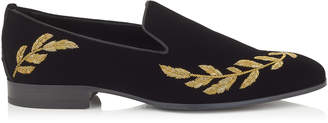 Jimmy Choo SAUL Black Velvet Slipper Shoes with Gold Feather Embroidery