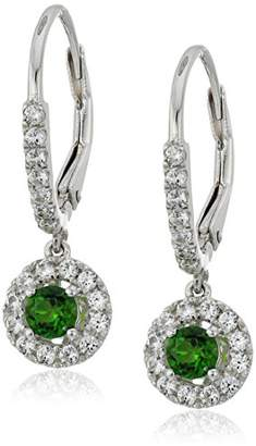 Sterling Silver Chrome Diopside and Created White Sapphire Dangle Earrings