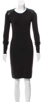 J Brand Faux Leather-Accented Knit Dress