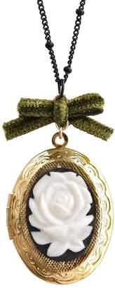 POPORCELAIN - Dark Romance Rose Oval Porcelain Cameo Locket Necklace