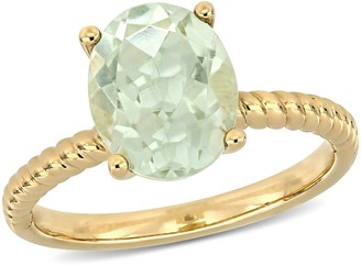 14K 2.30 cttw Green Amethyst Solitaire Ring