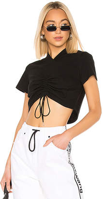 Alexander Wang High Twist Jersey Ruched V Neck Tee